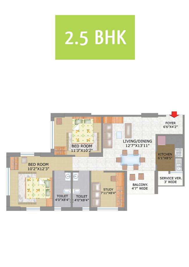 Keventer 39 s rishra 2 5 bhk typical floor plan for Floor plan com